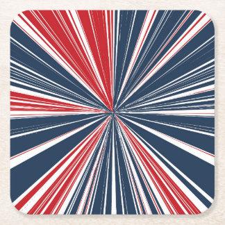 Patriotic Burst Abstract Square Paper Coaster