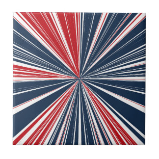 Patriotic Burst Abstract Tile