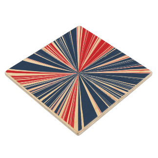 Patriotic Burst Abstract Wooden Coaster
