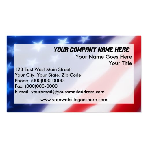 Stars and stripes business card templates bizcardstudio for Patriotic business card template