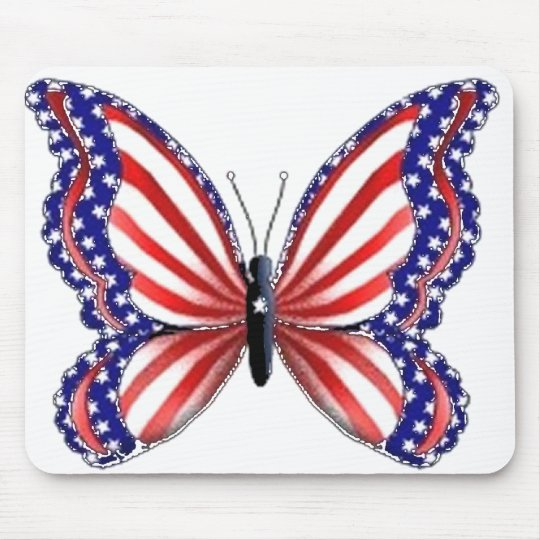 Patriotic Butterfly Mouse Pad