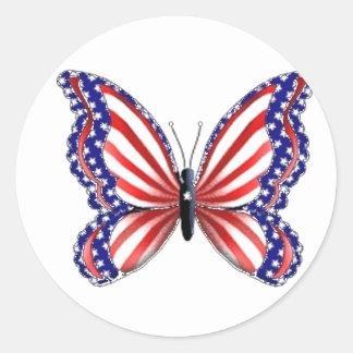 Patriotic Butterfly Round Sticker