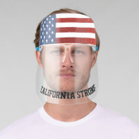 Patriotic CaliforniaStrong Distressed America Flag Face Shield