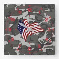 Patriotic Camo Square Wall Clock