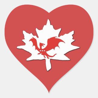 Patriotic Canadian Dragon Red Heart Sticker