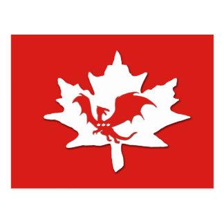 Patriotic Canadian Dragon Red Post Card