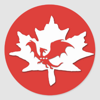 Patriotic Canadian Dragon Red Stickers