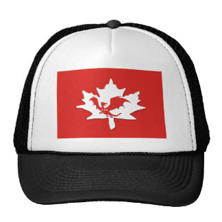 Patriotic Canadian Dragon Red Trucker Hat