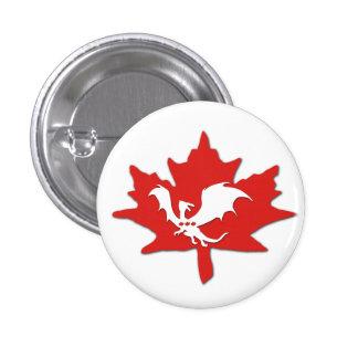 Patriotic Canadian Dragon White Button