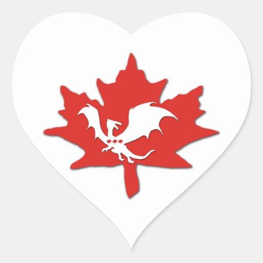 Patriotic Canadian Dragon White Heart Sticker