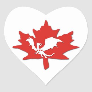 Patriotic Canadian Dragon White Heart Stickers