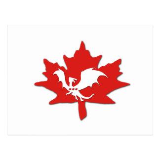 Patriotic Canadian Dragon White Postcard