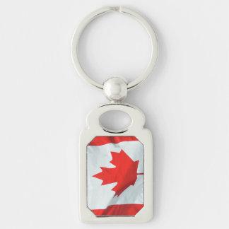 Patriotic Canadian flag design Silver-Colored Rectangular Metal Keychain