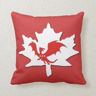 Patriotic Candaian Dragon Red pillow
