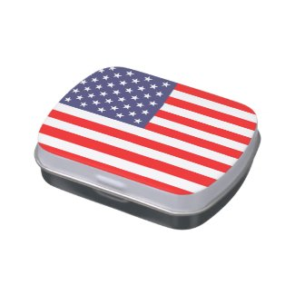Patriotic candy tins with American flag