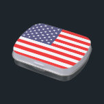 """Patriotic candy tins with American flag<br><div class=""""desc"""">Patriotic candy tins with American flag. Tin candy cans with flag of America. Patriotic red white and blue design. Great gift idea for 4th of July / Independence Day. USA stars and stripes pride.</div>"""