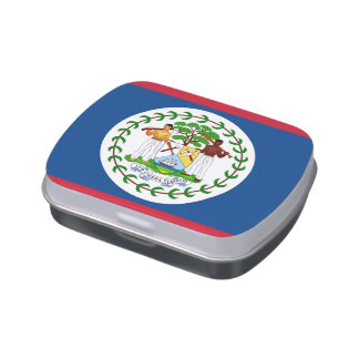 Patriotic candy tins with Flag of Belize