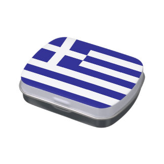 Patriotic candy tins with Flag of Greece