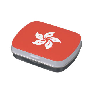 Patriotic candy tins with Flag of Hong Kong