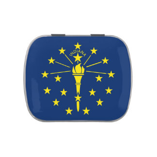 Patriotic candy tins with Flag of Indiana