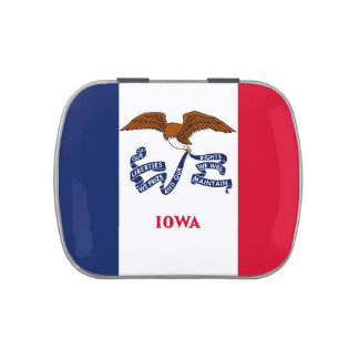 Patriotic candy tins with Flag of Iowa
