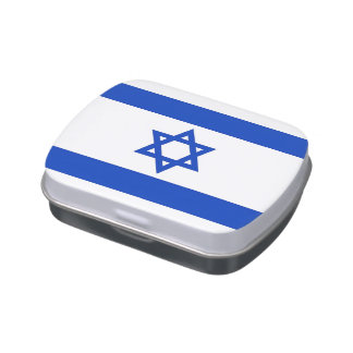 Patriotic candy tins with Flag of Israel