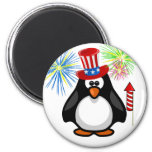 Patriotic Cartoon Paddy 4th of July Hat Fireworks 2 Inch Round Magnet