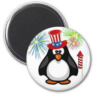 Patriotic Cartoon Paddy 4th of July Hat Fireworks Refrigerator Magnet