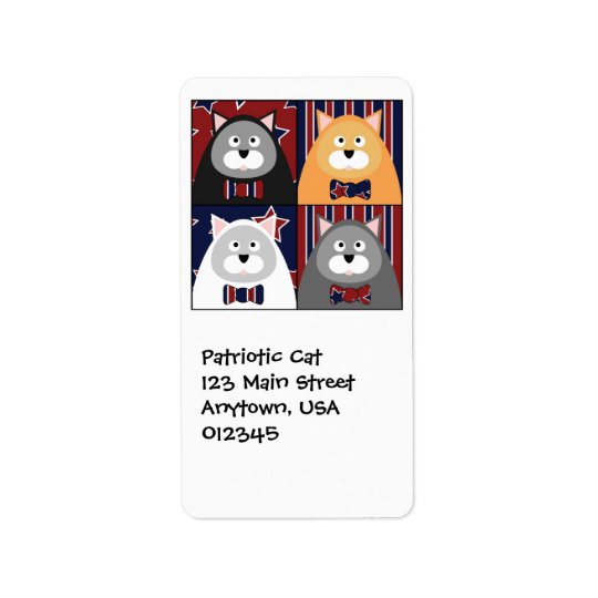 Patriotic Cat Address Avery Label