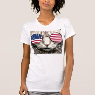 Patriotic Cat Funny T-shirts, American sunglasses T-Shirt
