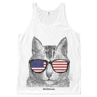 Patriotic Cat - - Politiclothes Humor --.png All-Over Print Tank Top
