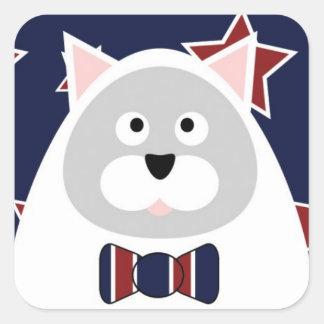 Patriotic Cat Square Stickers