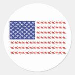 Patriotic Cat/USA Classic Round Sticker