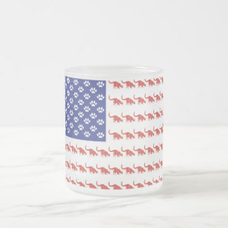 Patriotic Cat/USA Frosted Glass Coffee Mug