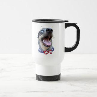 Patriotic Catahoula Leopard Dog 15 Oz Stainless Steel Travel Mug