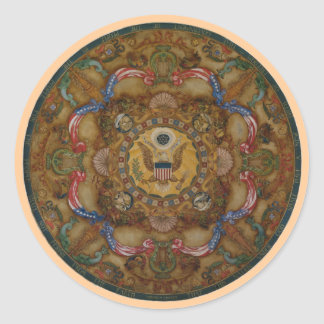 Patriotic ceiling dome painting Library Congress Classic Round Sticker