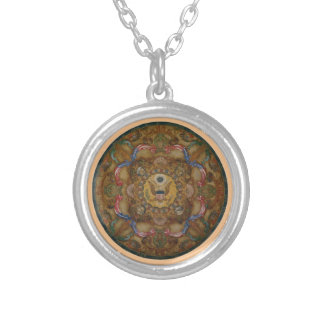 Patriotic ceiling dome painting Library Congress Round Pendant Necklace