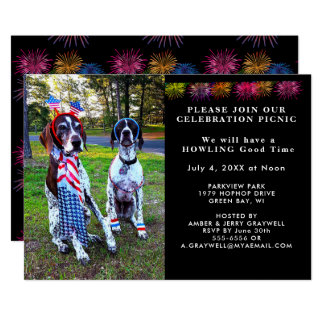 Patriotic Celebration Picnic Party Dogs Invitation