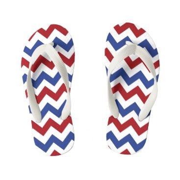 USA Themed Patriotic Chevron Pattern Kid's Flip Flops