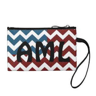 Patriotic chevron, personalize text change purse