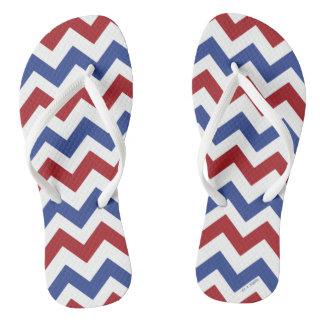 Patriotic Chevron Stripes Flip Flops