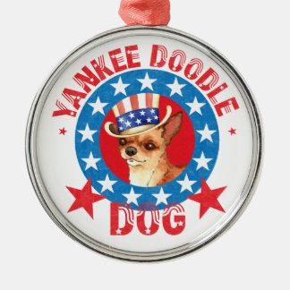 Patriotic Chihuahua Metal Ornament