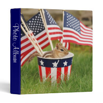 """Patriotic Chipmunk 1"""" Photo Album 3 Ring Binder"""