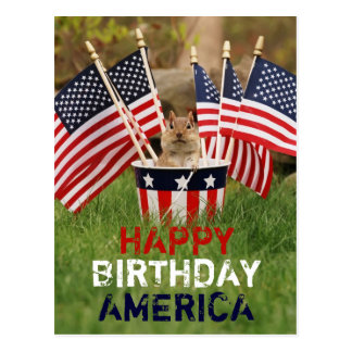Patriotic Chipmunk Postcard