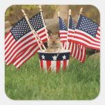 Patriotic Chipmunk Square Sticker