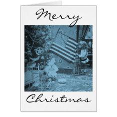 Patriotic Christmas American Flag Vintage Card at Zazzle
