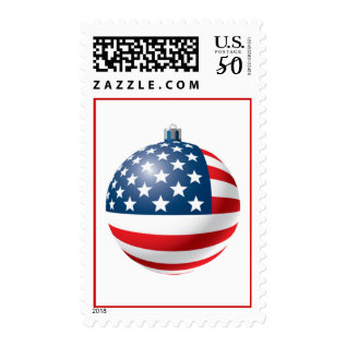 Patriotic Christmas Bauble Postage Stamp at Zazzle