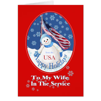 Patriotic Christmas Card for Wife in the Service