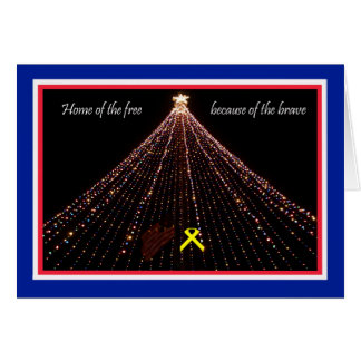 Patriotic Christmas Card with Yellow Ribbon
