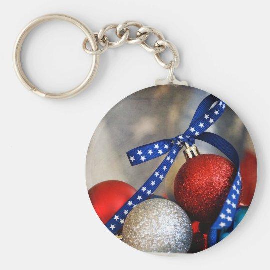 Patriotic Christmas Keychain